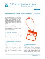 "Be Smart About ""Pricing"" Your White Paper"